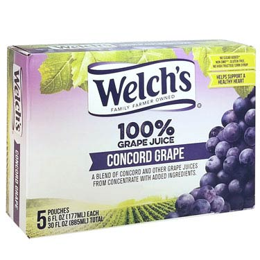 WELCHS CONCORD GRAPE 100% JUICE 5CT