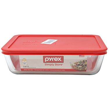 PYREX 6-CUP RECT RED COVER