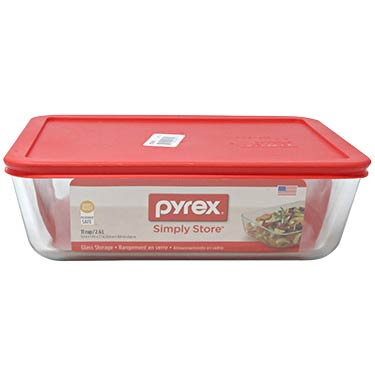 PYREX 11-CUP RECT RED COVER