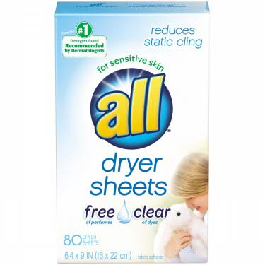 ALL FREE CLEAR DRYER SHEETS
